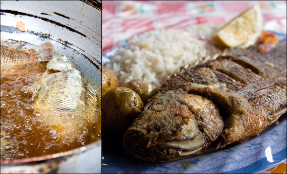 Fried tilapia lunch at Otavalo market