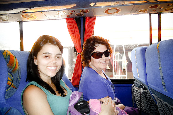 two women on a bus
