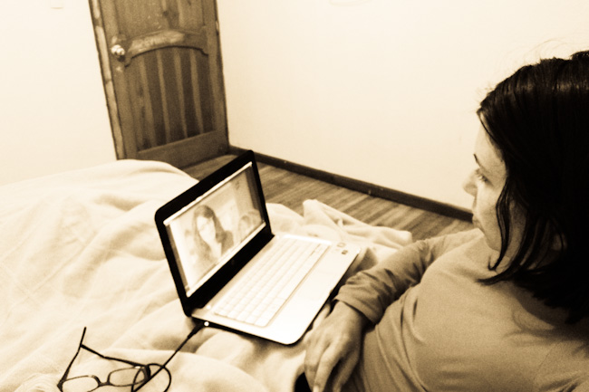 watching television on a laptop