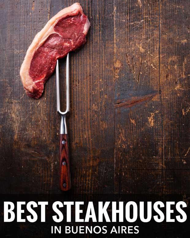 Raw steak on a fork