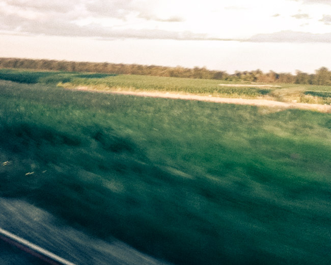 blurry train window