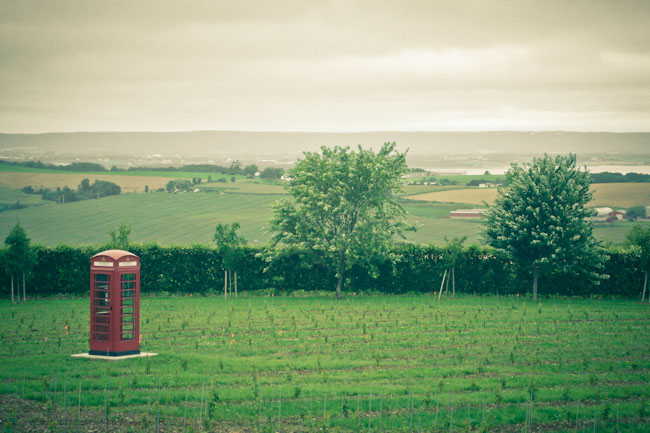 telephone booth in open space