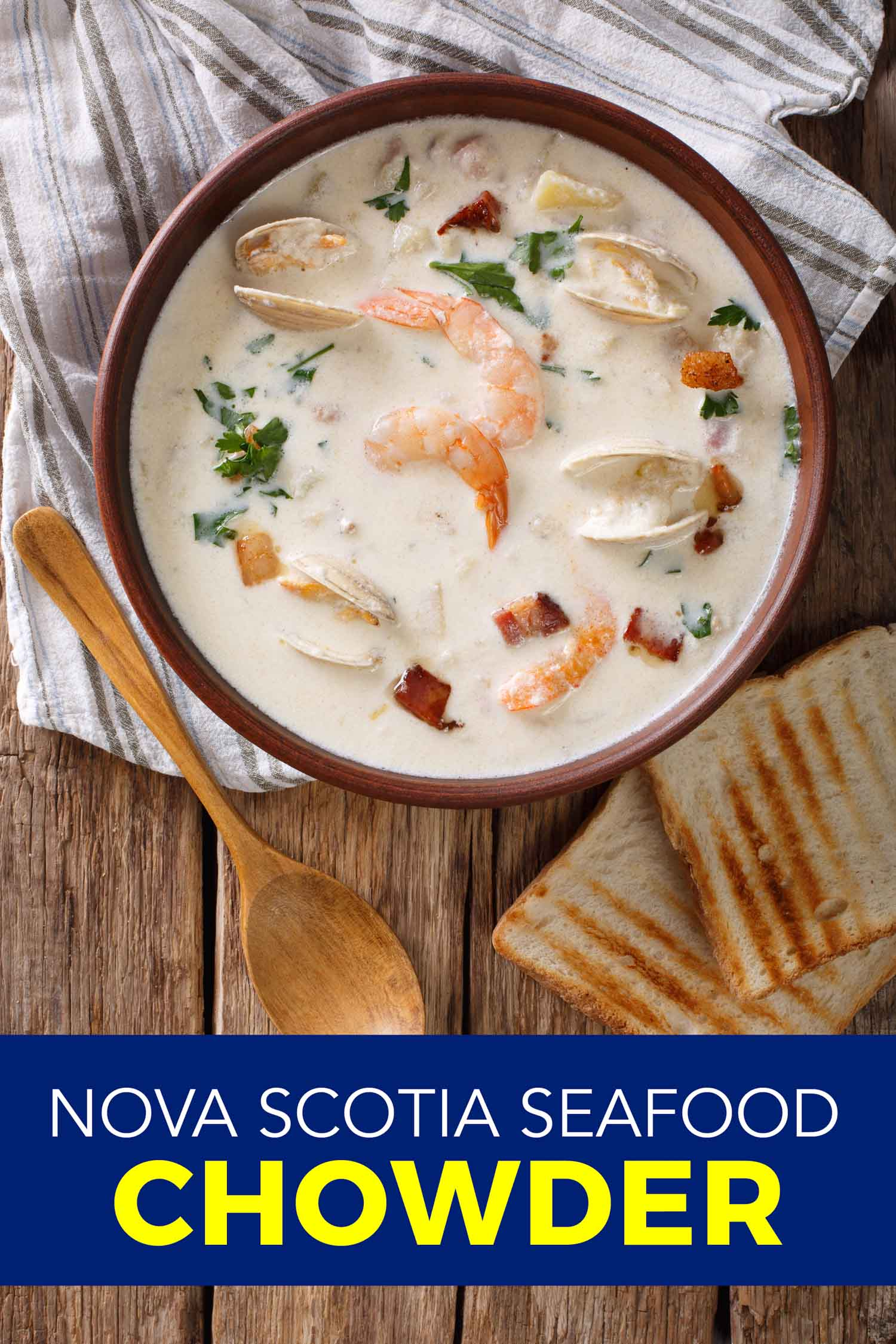 Seafood chowder in a dark brown bowl