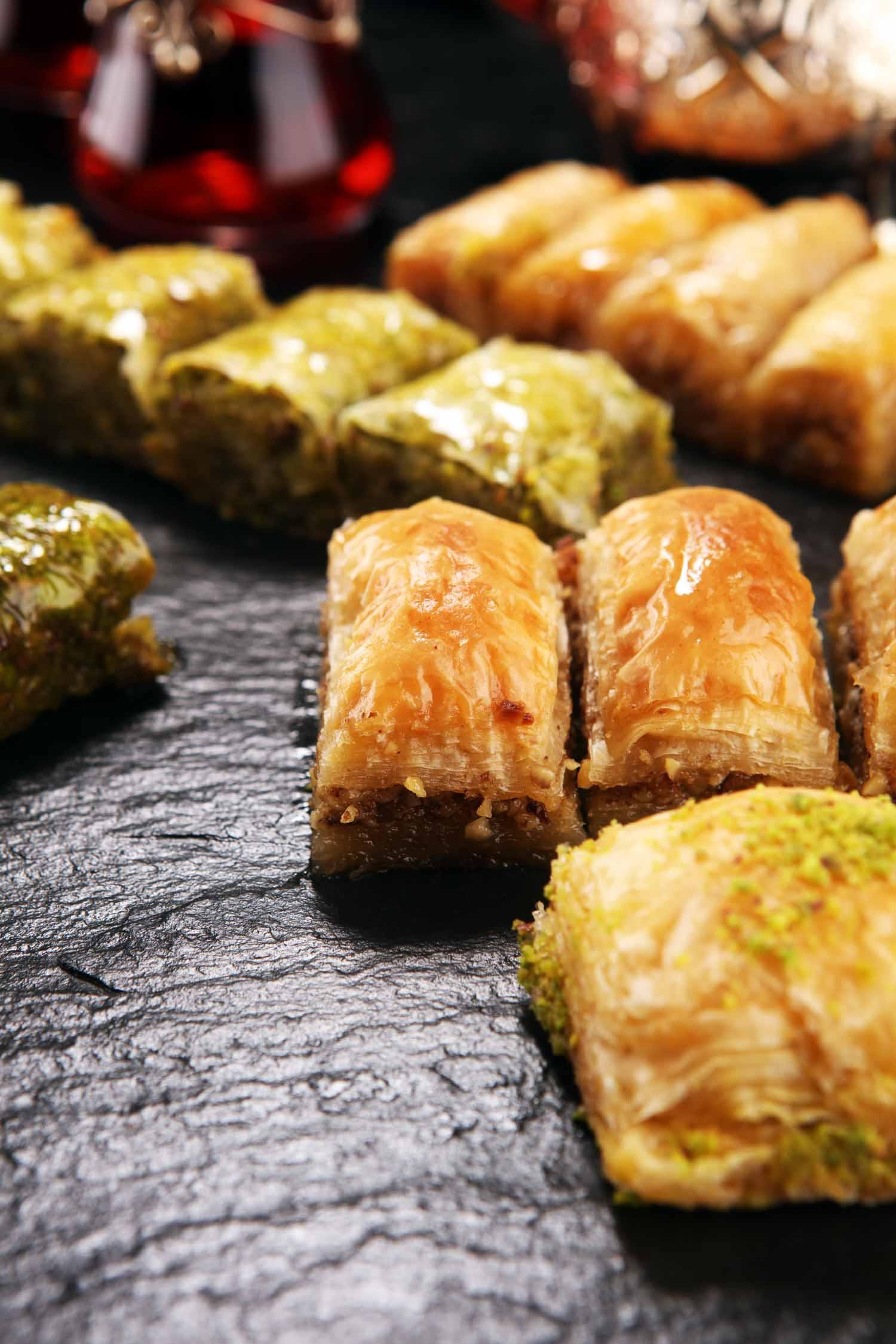 Jordanian cuisine includes a dish similar Turkish Dessert Baklava with pistachio.
