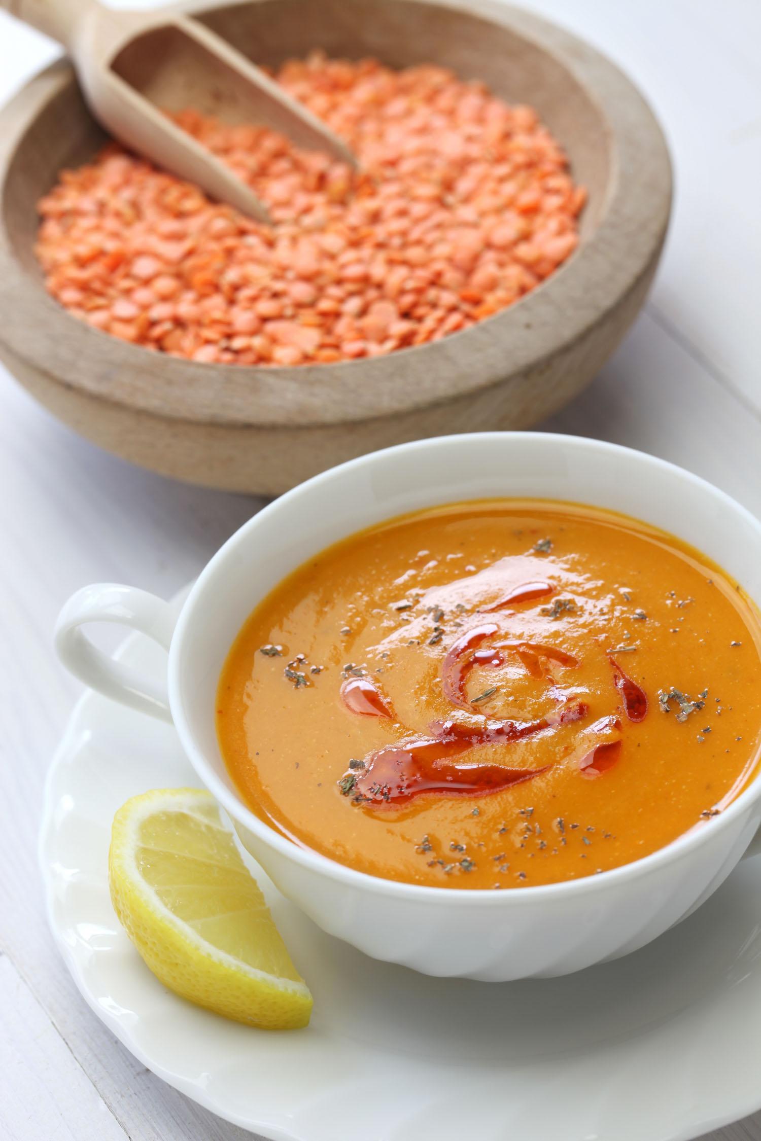 Jordanian red lentil soup also known as mercimek corbasi, red lentil soup, turkish cuisine