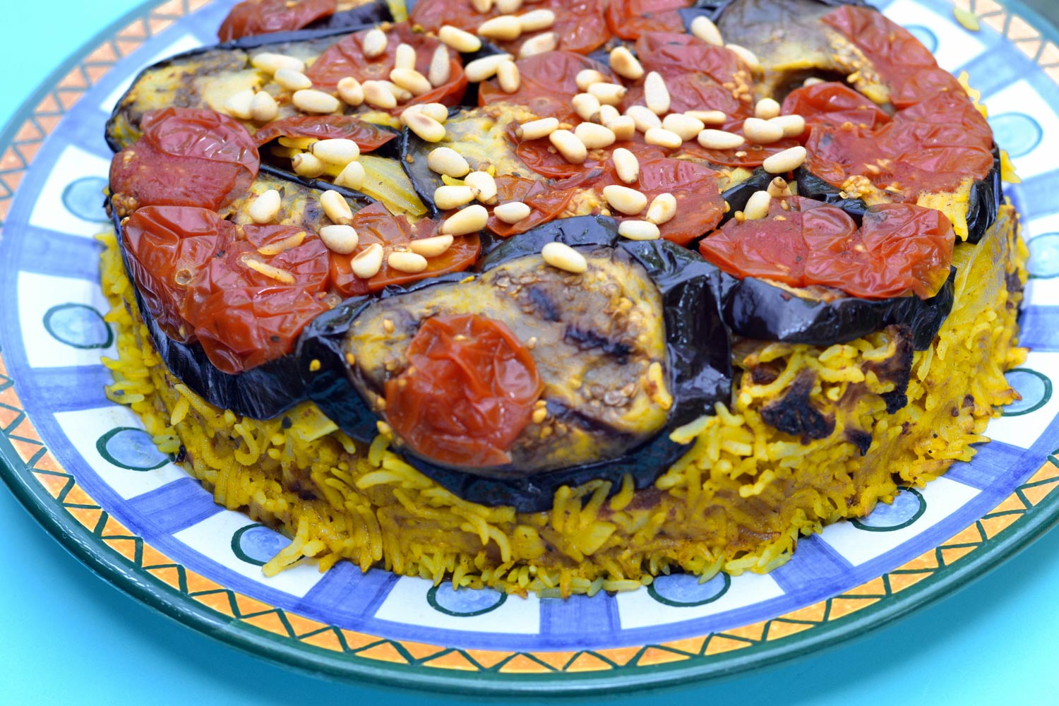 Jordanian food Maqluba, also knwn as Maklube; traditional upside-down casserole made with fried vegetables, chicken or lamb. and rice