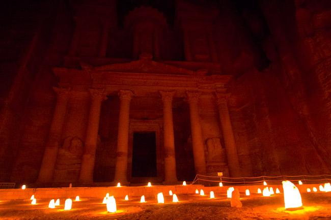 Petra Treasury at night