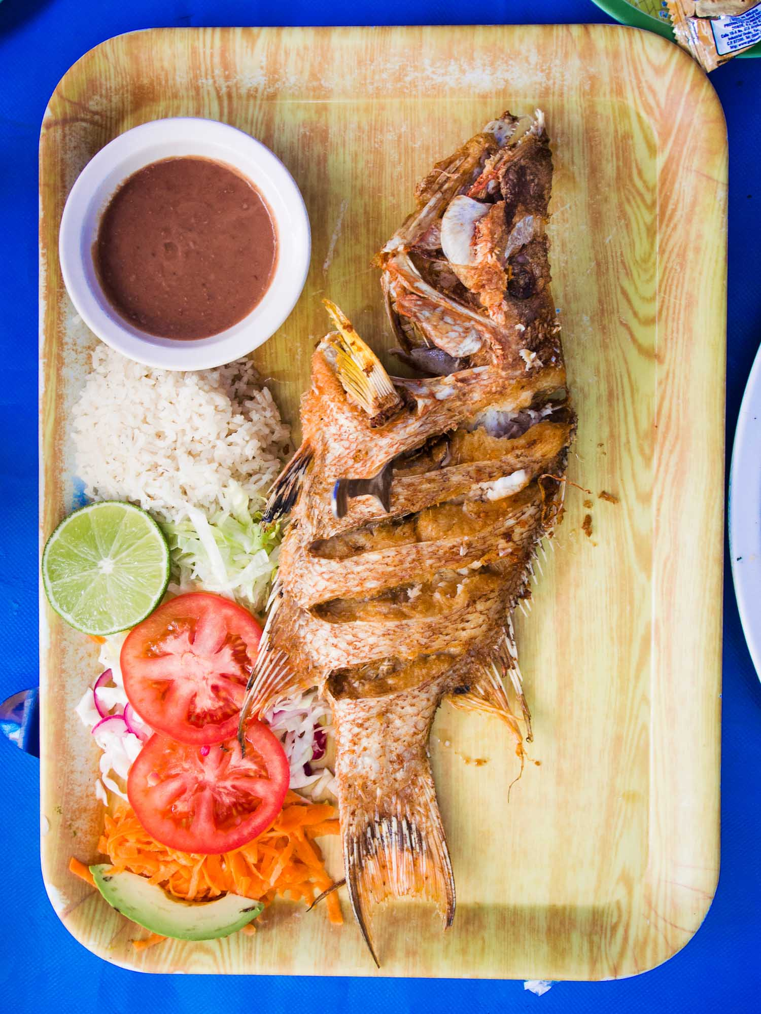 Grilled fish at El Pirata restaurant in Playa del Carmen
