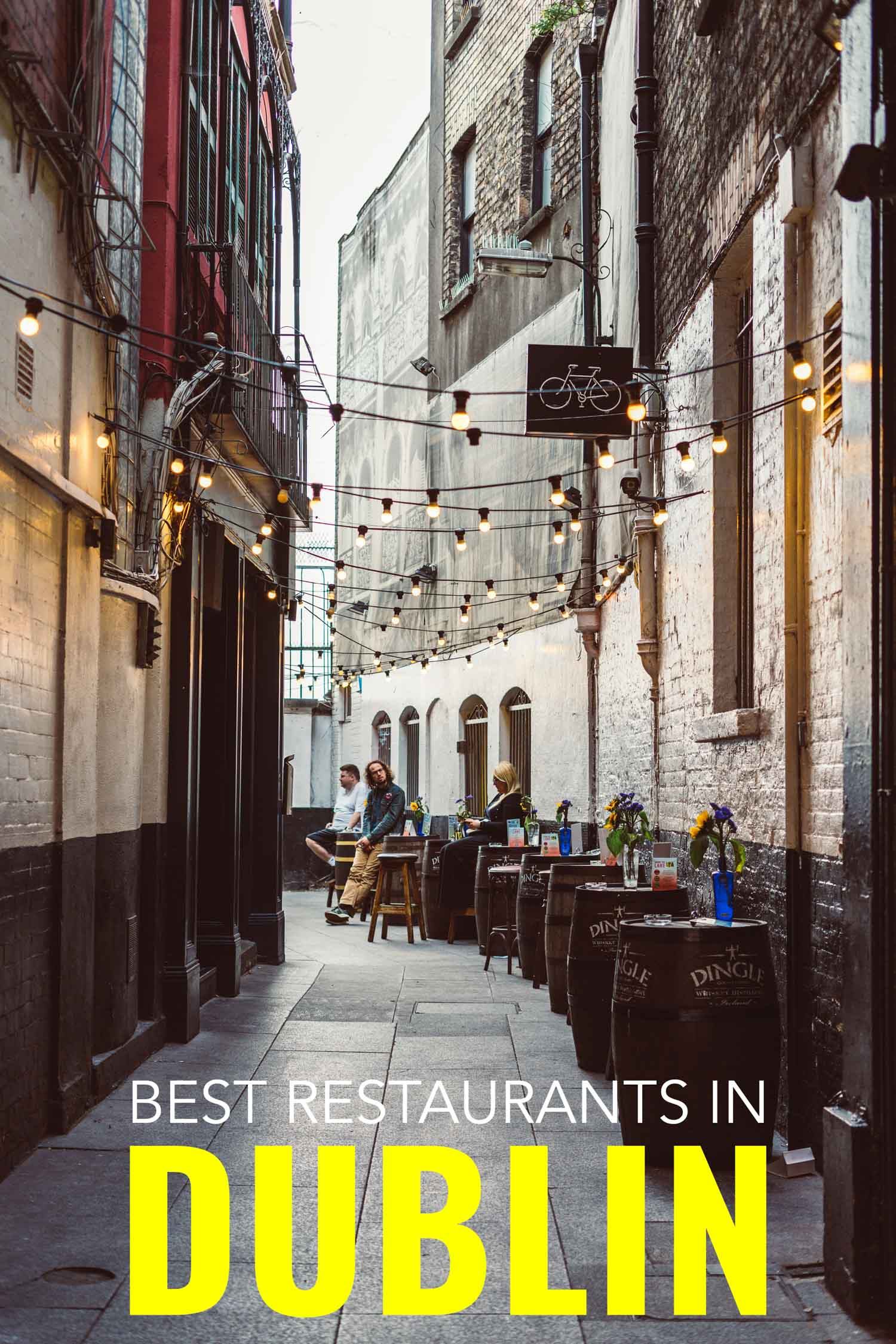 Alley where locals are eating in some of the best places to eat in Dublin