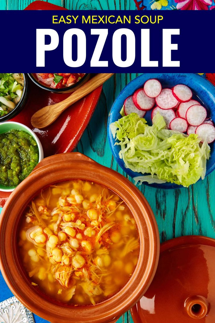 Super easy Mexican soup, pozole rojo is a strew with hominy, chicken or pork, and a rich broth. This one pot red pozole is so easy to make ahead and heated later on. It's served plain and everyone can add their own lettuce, radish, avocado, lime and of course tortillas.#Mexicanfood #Mexican #Mexico #soup #stew #onepot #recipe #healthy