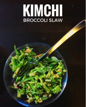 Easy Kimchi broccoli slaw recipe, great vegetarian recipe that will even please meat eaters with the use of kimchi. Satisfying clean eating recipe for those looking to lose weight for summer.