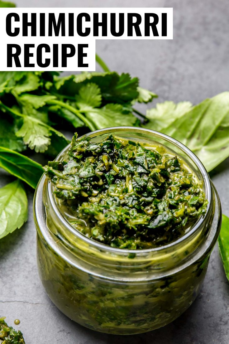 This easy Argentinean Chimichurri sauce uses fresh minced parsley, cilantro, oregano, red wine vinegar, olive oil and minced garlic. Learn how to make easy chimichurri in only 5 minutes. #recipe #argentina #sauce #parsley #oregano