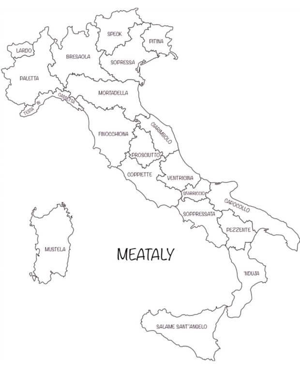 Simple Map Of Italy.Meataly Our Cured Italian Meat Pilgrimage Bacon Is Magic