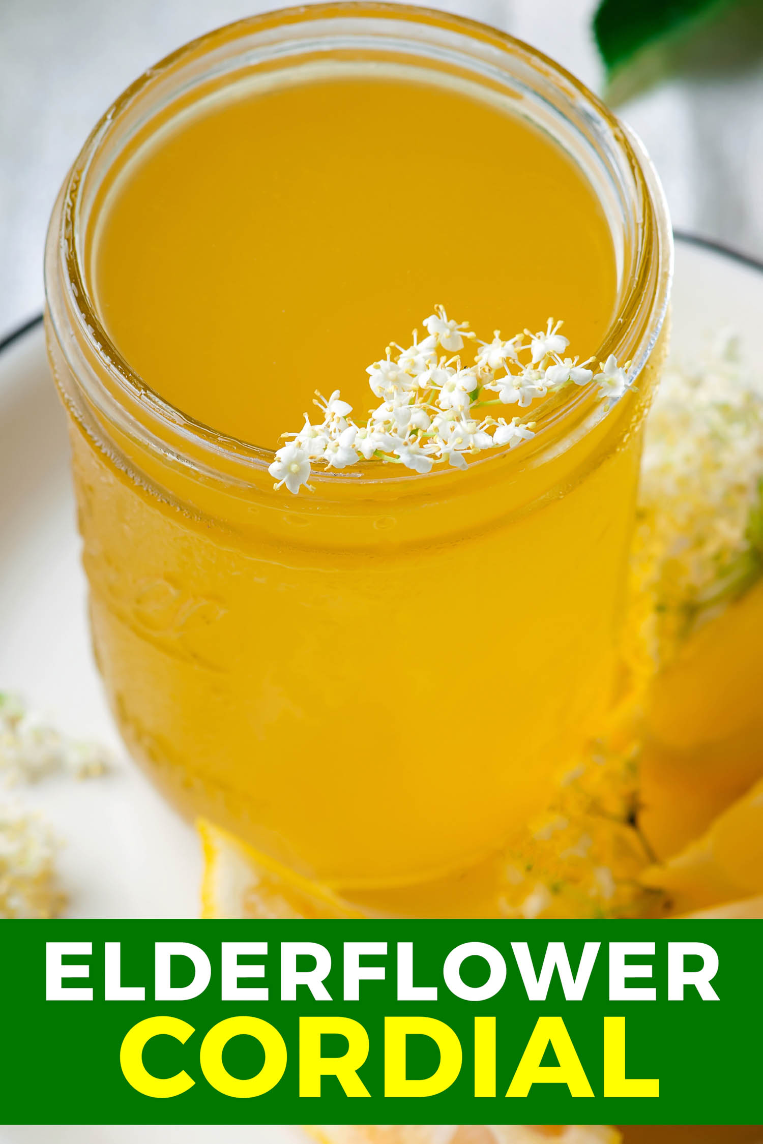 Cordial made with elderflower in a mason jar