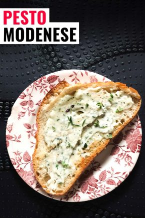 Pesto modenese or whipped lardo on a piece of bread