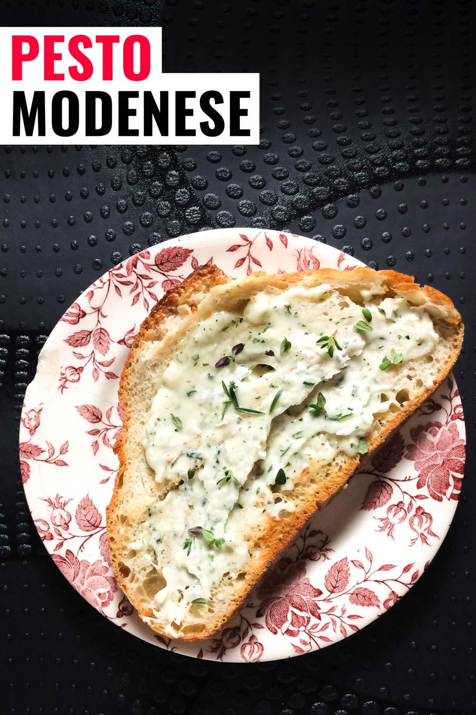 Pesto modenese or whipped lardo on a piece of bread