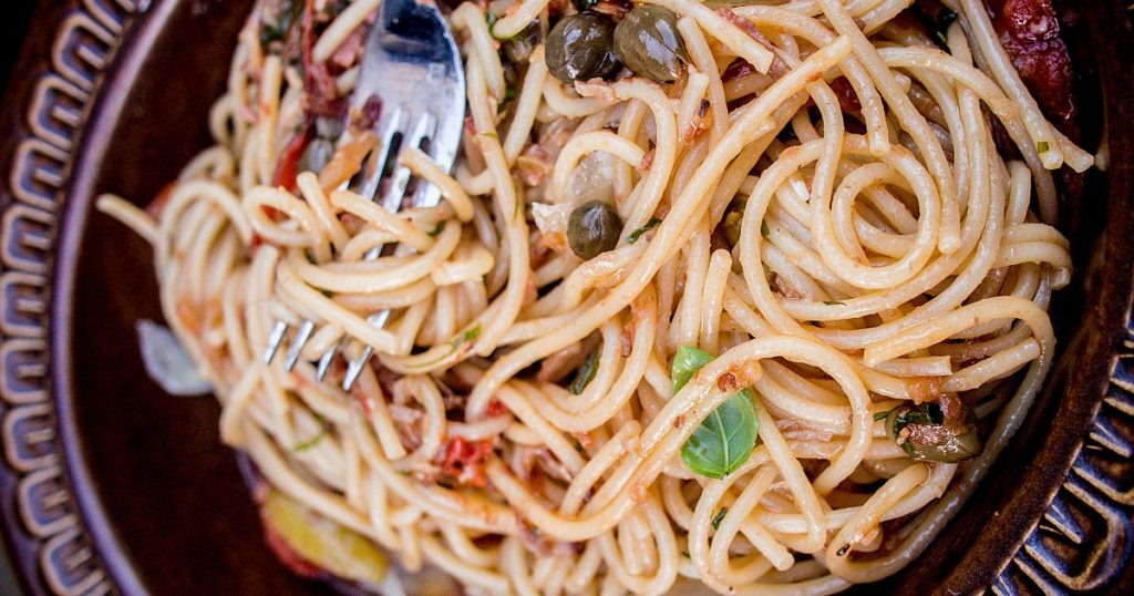 Chef Dave Mottershall's famous spaghetti puttanesca recipe is easy to make at home but tastes like it's from an Italian restaurant.