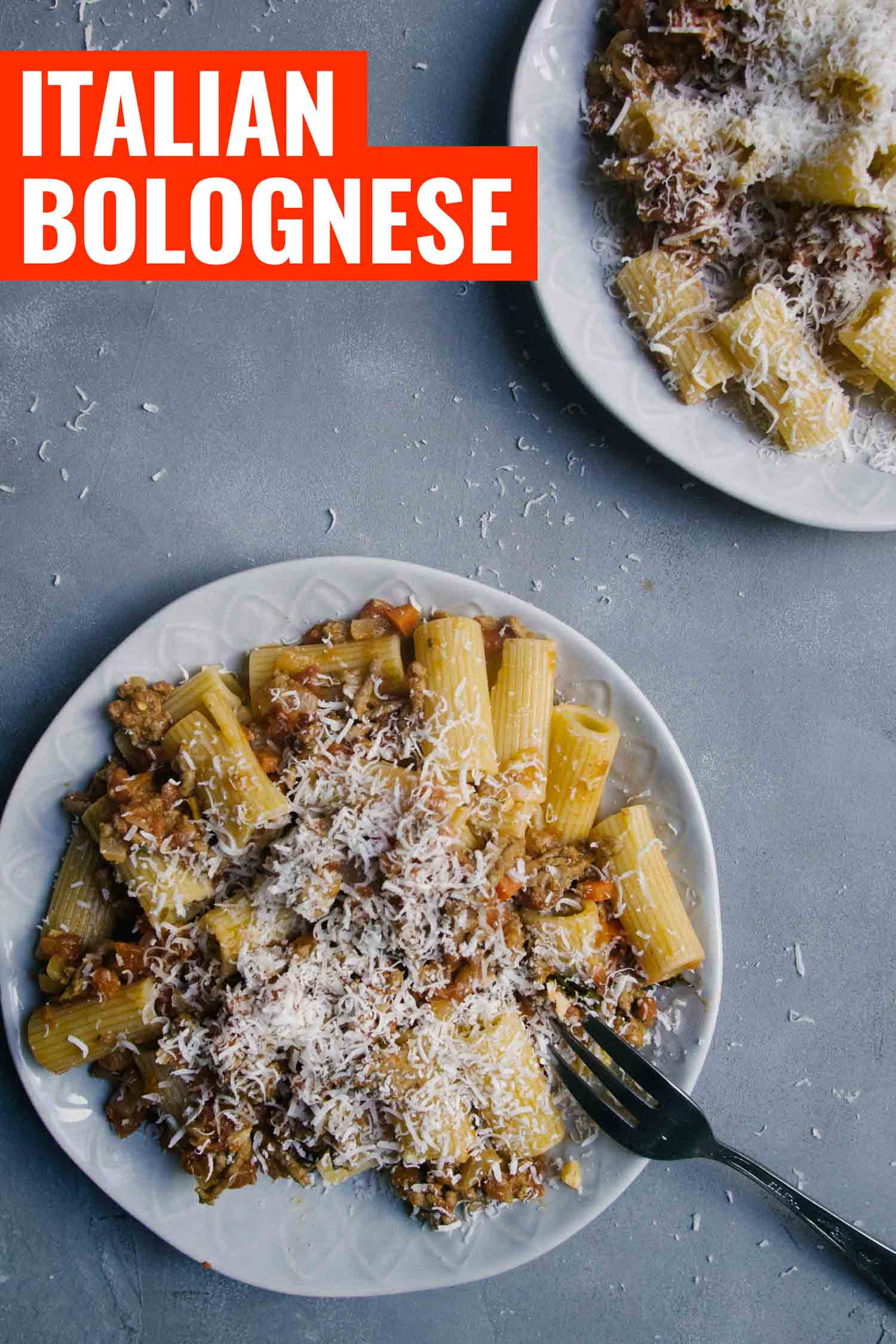 Pasta bolognese sauce on a blue background