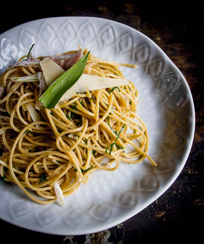 This ramp pasta can be made in less than ten minutes. You'll love the foraged wild onion flavour with the saltiness of prosciutto and parmesan.