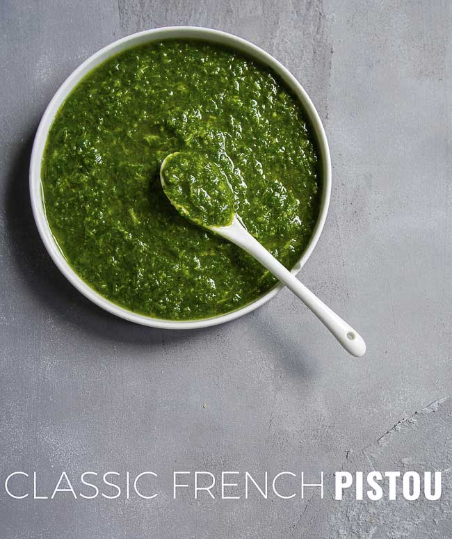 Wondering what is pistou? It's not exactly the same as Italian pesto and the traditional pistou recipe is vegan.