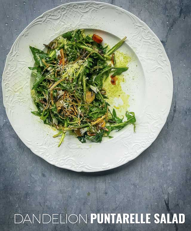 Traditionally from Rome, this dish is a spin on a classic puntarelle salad by using dandelion, which is similar but much easier to find in North America.