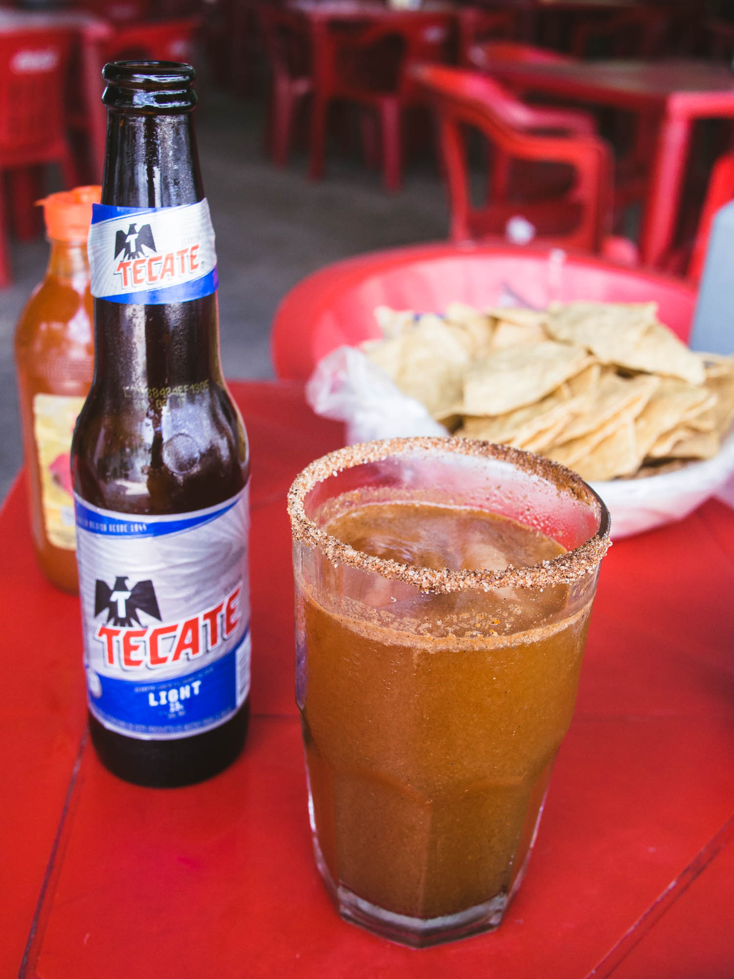 Michelada drink with Tecate beer