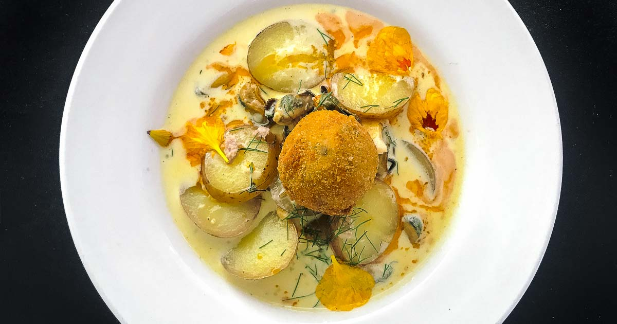 Award winning PEI seafood chowder from Chef Erin Henry, Piatto Pizzeria and Entoteca