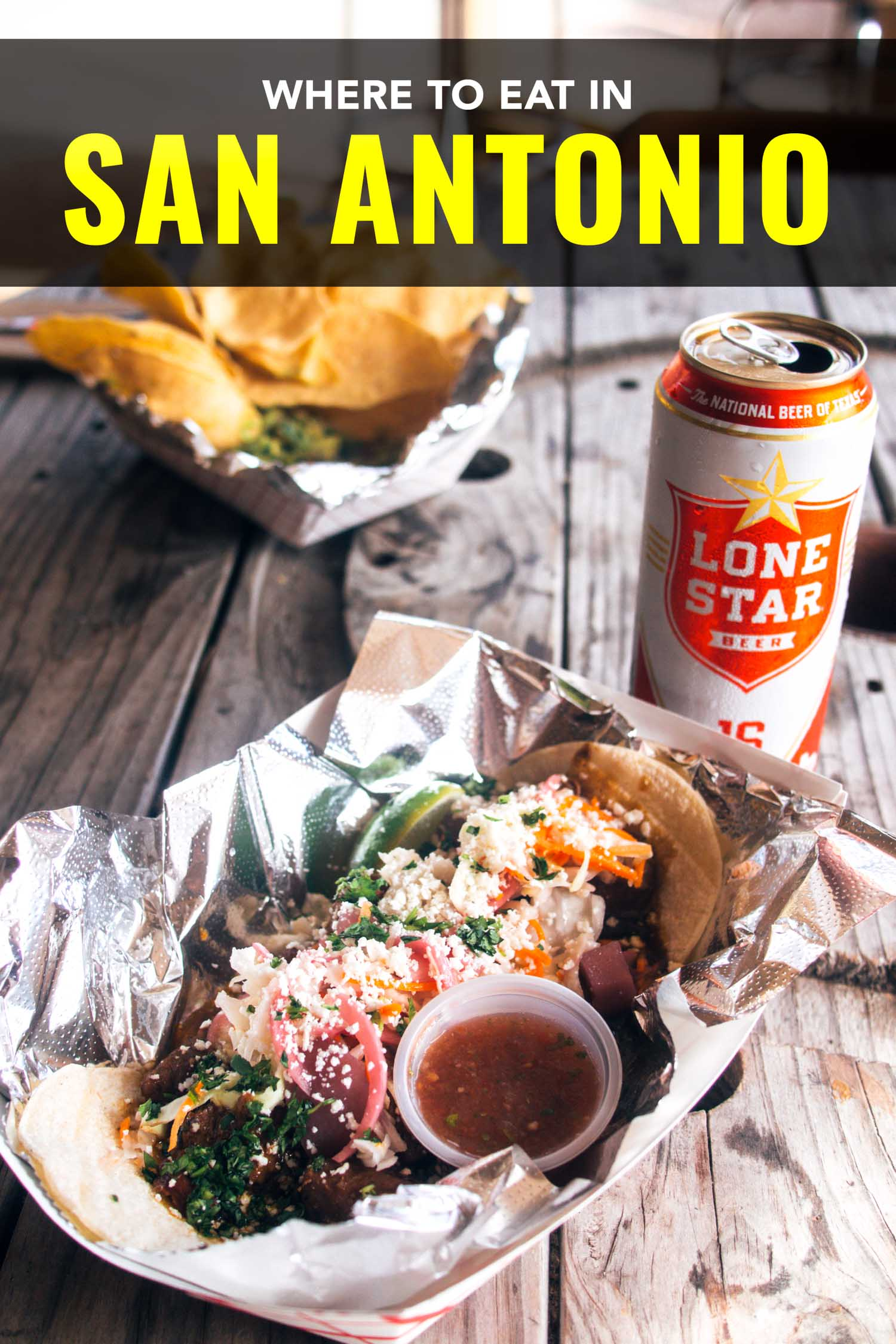 San Antonio tacos with Lone Star beer