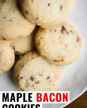 maple bacon shortbreads on a plate