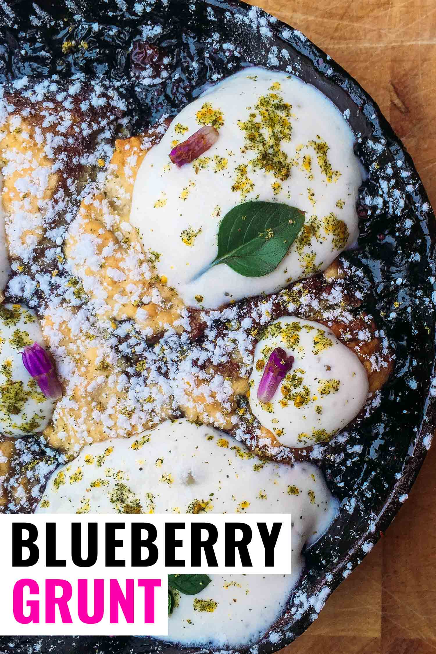 Blueberry grunt in a cast iron pan