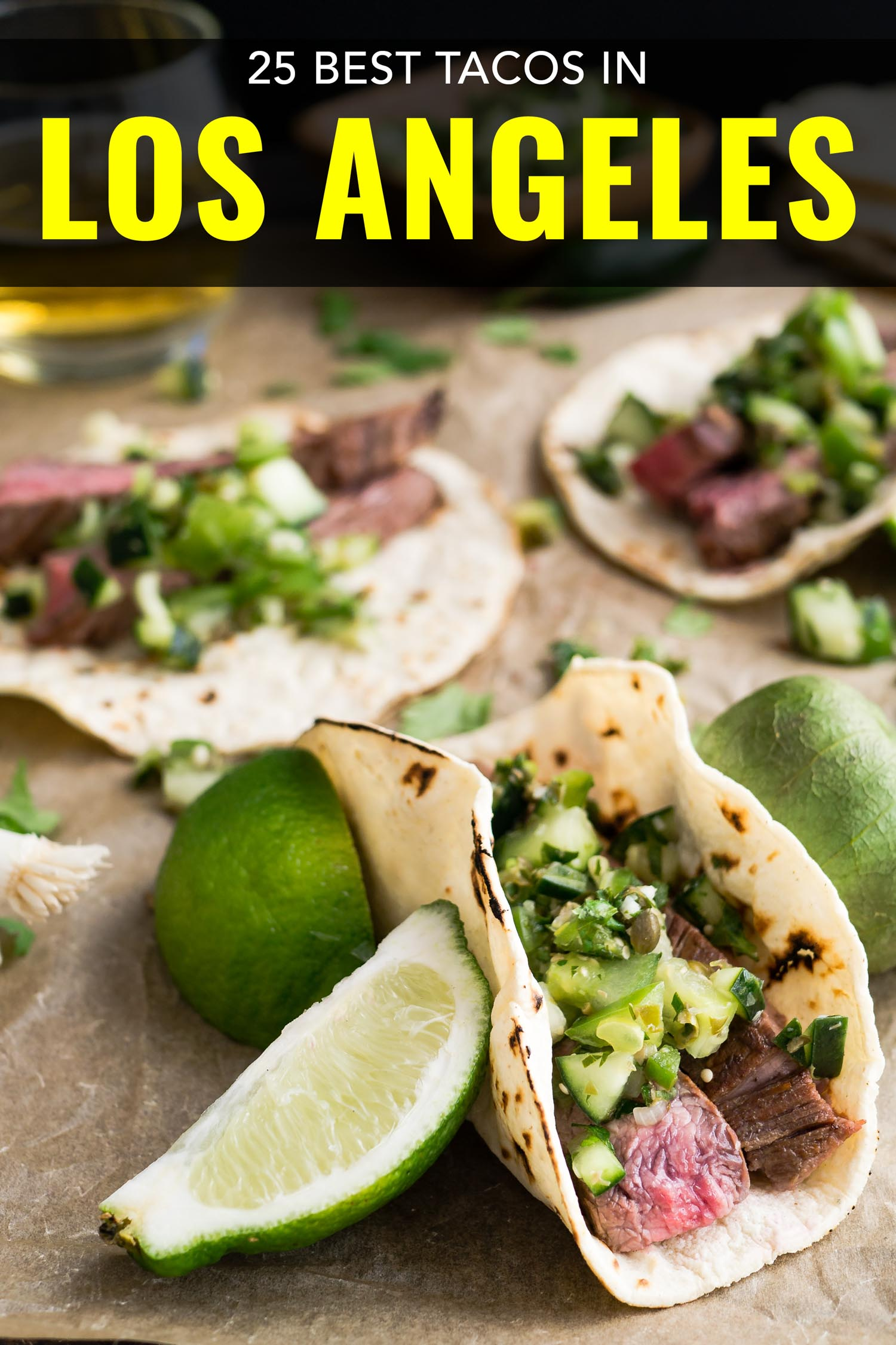 Los Angeles tacos on a cutting board with limes