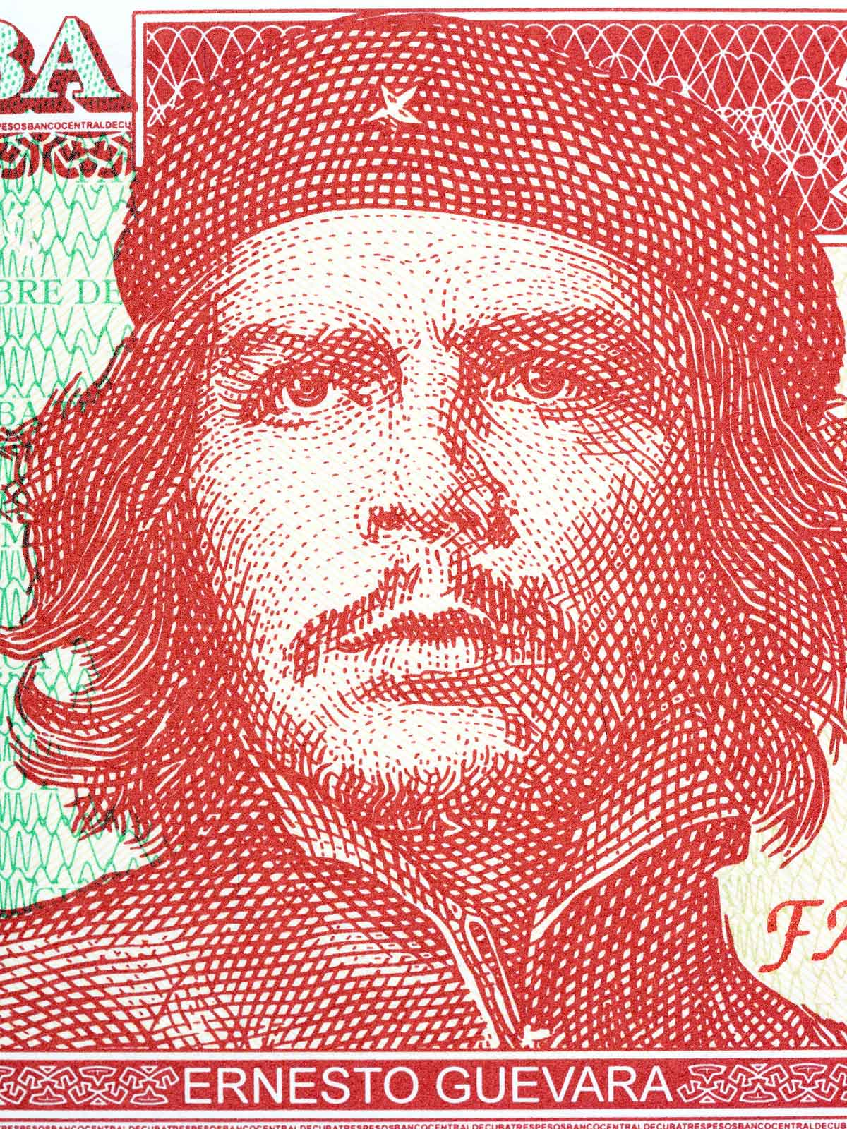 Ernesto Che Guevara is on Cuban currency, the 3 CUP bill.