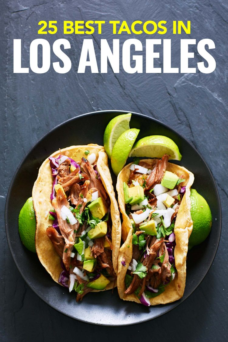 tacos on a plate and slate background