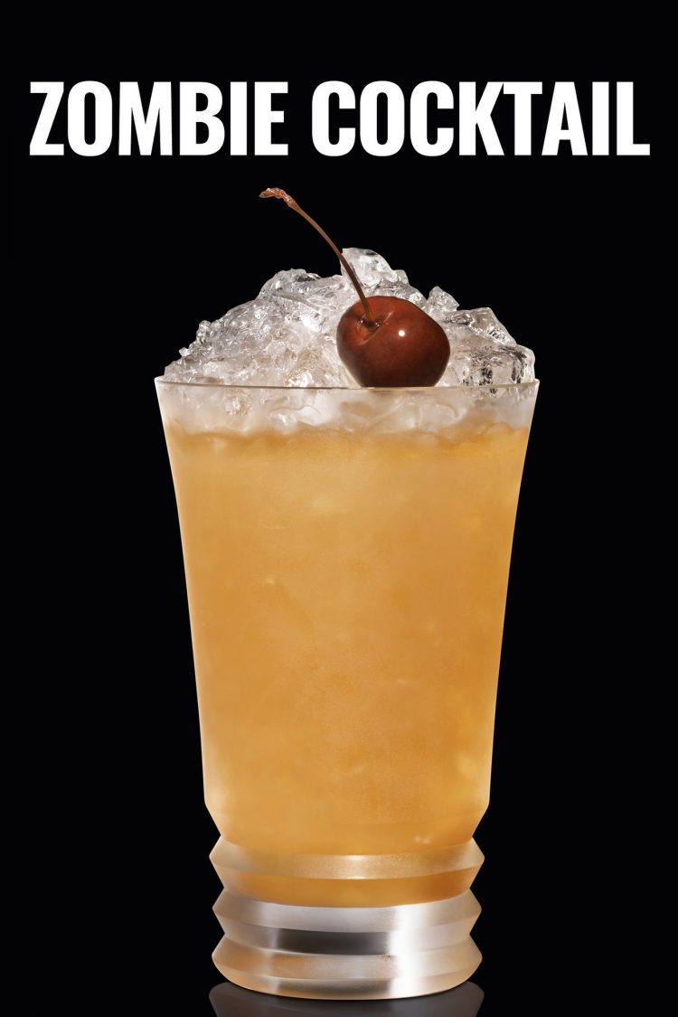 This Zombie cocktail from Bacardi rum is a great Halloween tradition. A fruit tiki drink with just the right amount of rum. It is easy to make and is perfect as a punch for parties #zombiecocktail #halloweenparty #halloweendrink #tiki #recipe #rum #drink #cocktails