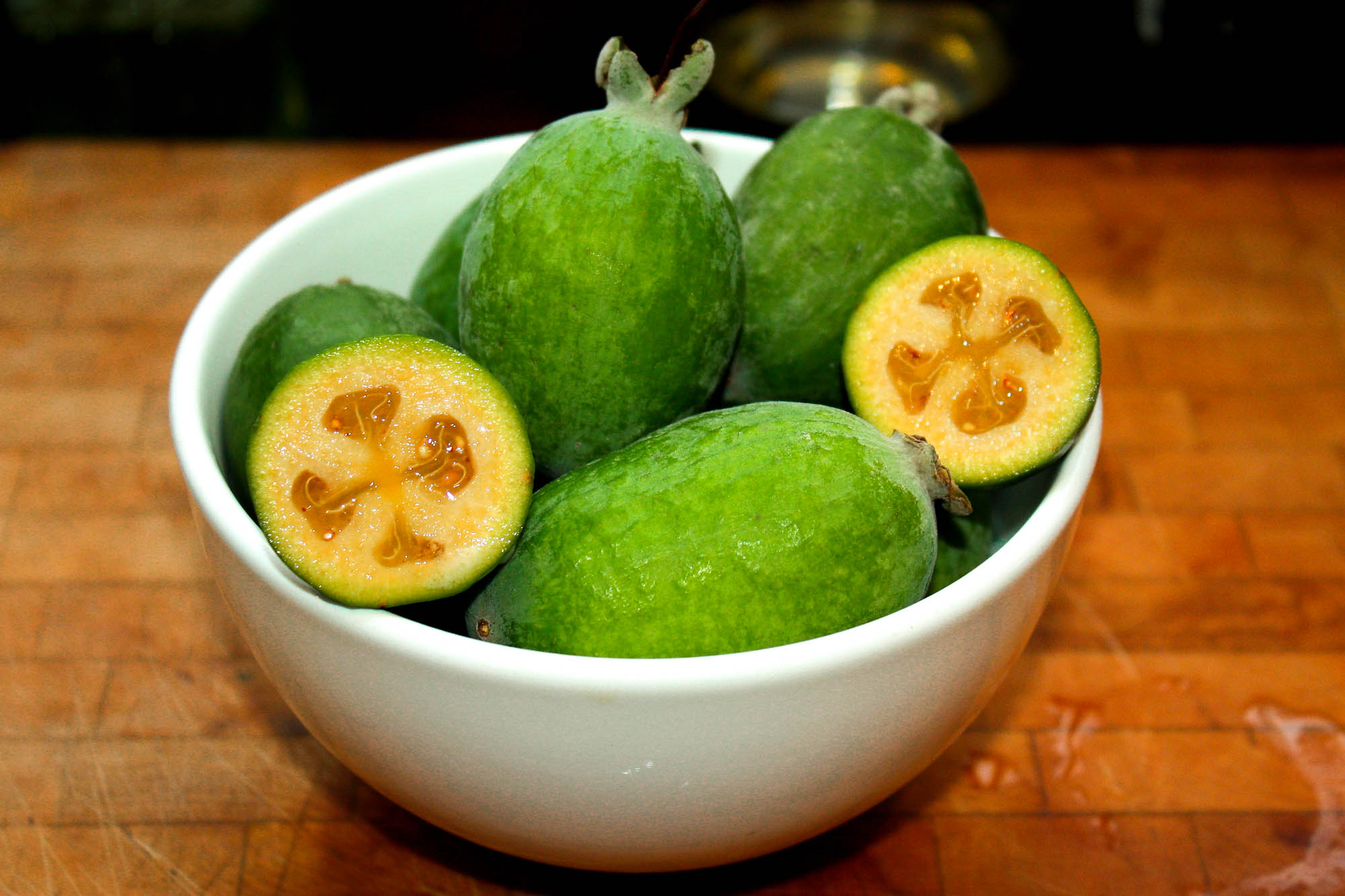Feijoa aka guavasteen is one of the tastiest exotic fruits from South America.