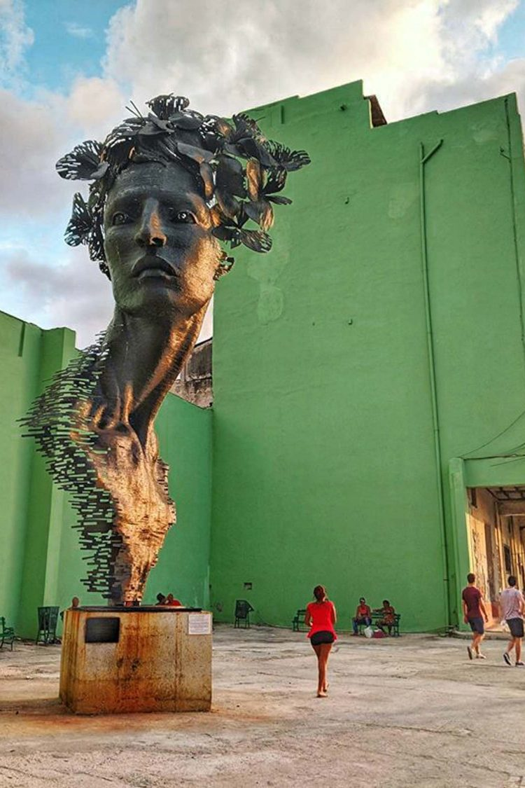 Sculpture on the malecon in Havana, Cuba