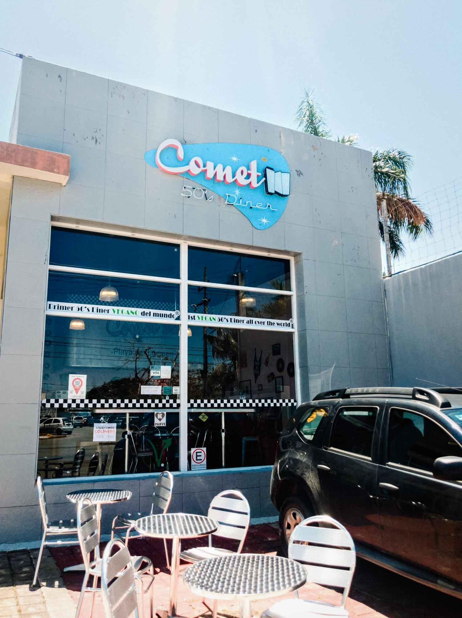 Comet diner vegan restaurant in Playa del Carmen.