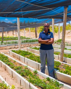 Farmer in Anguilla in a patch of herbs