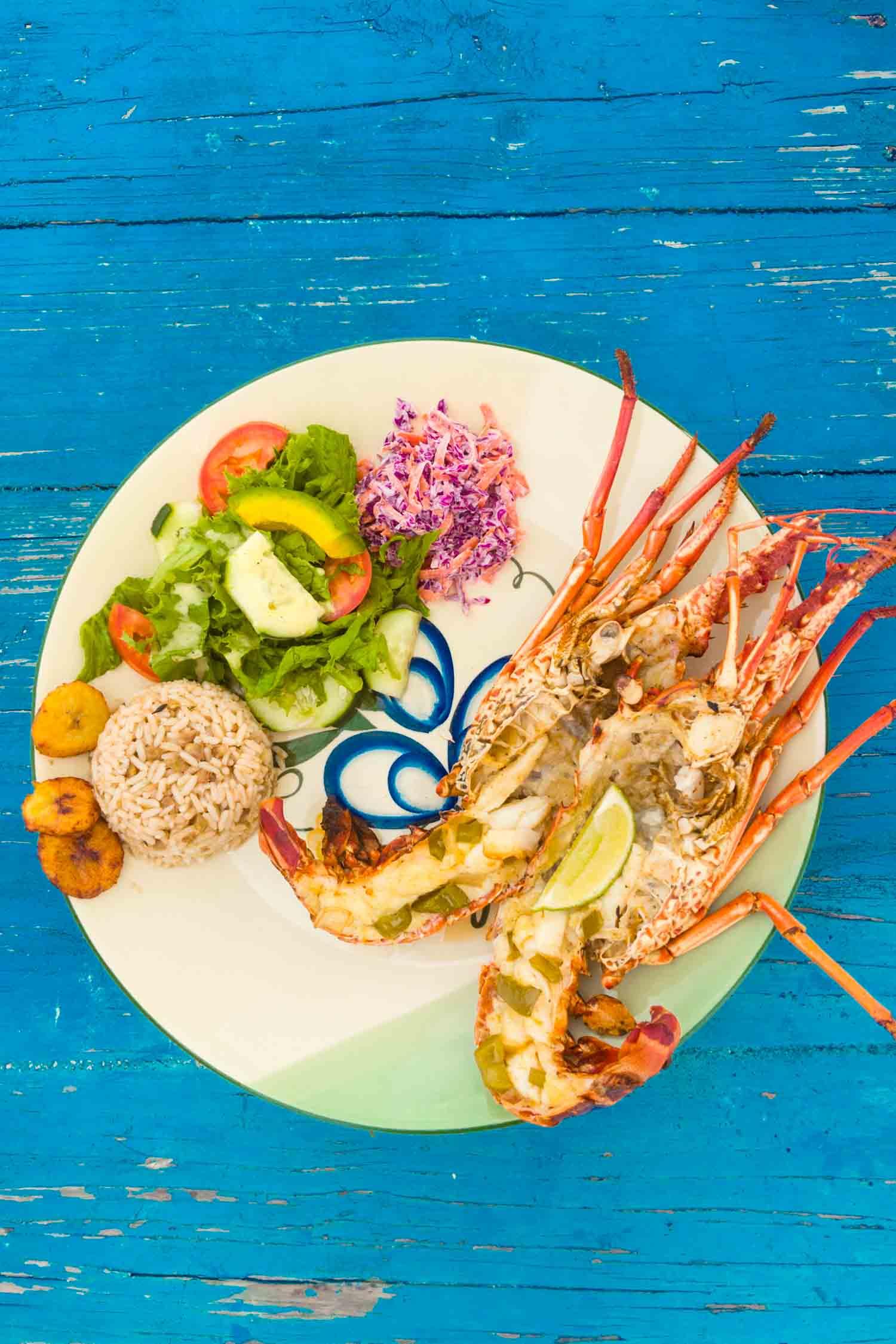 Caribbean lobster dinner in Anguilla.