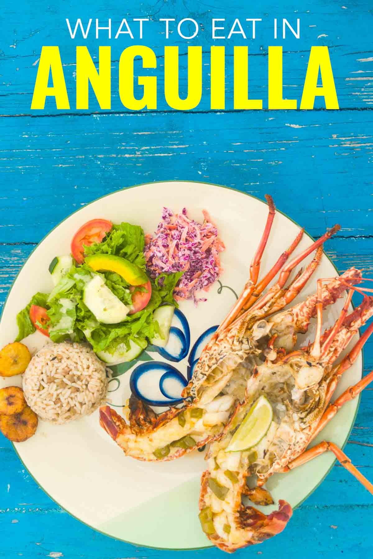 Anguilla food fresh Caribbean lobster.