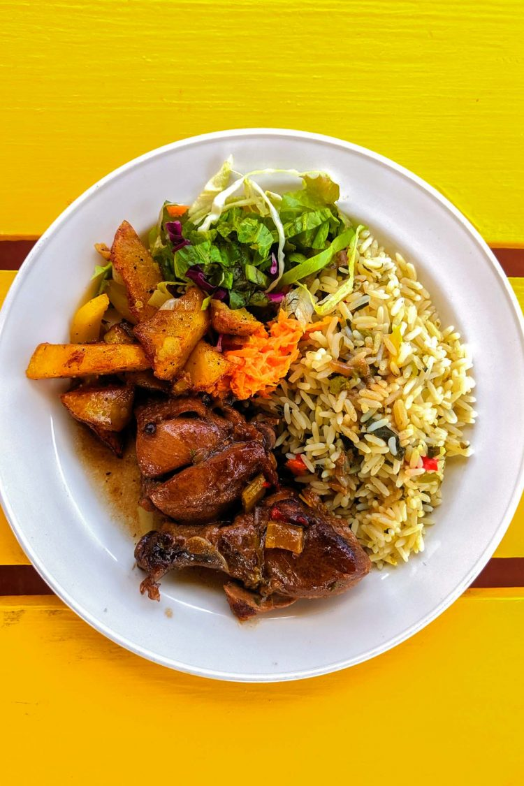 Stewed chicken, a traditional Antiguan dish at Seaview restaurant on Antigua island.