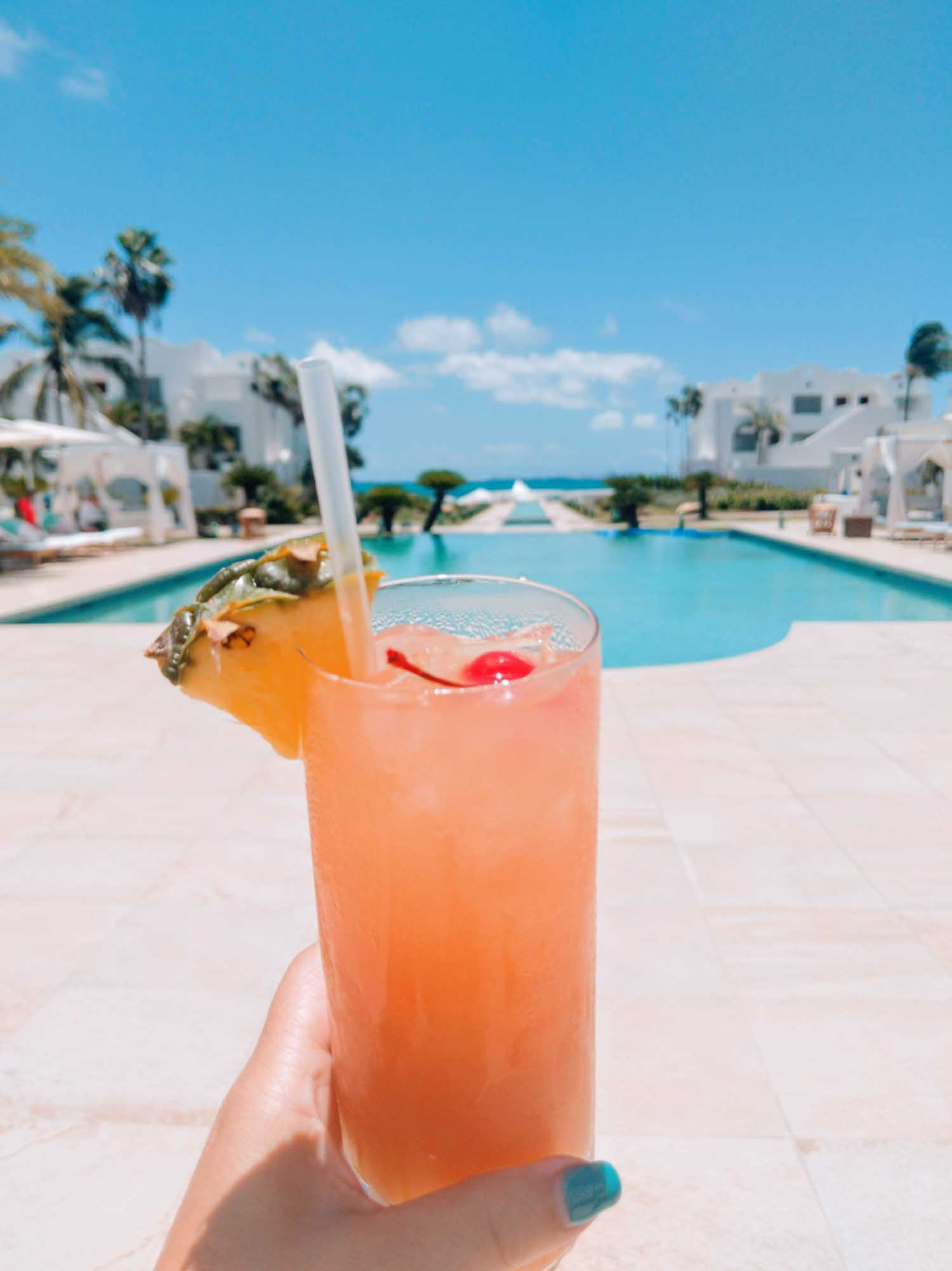 Rum punch in Anguilla welcome drink at Cuisinart.