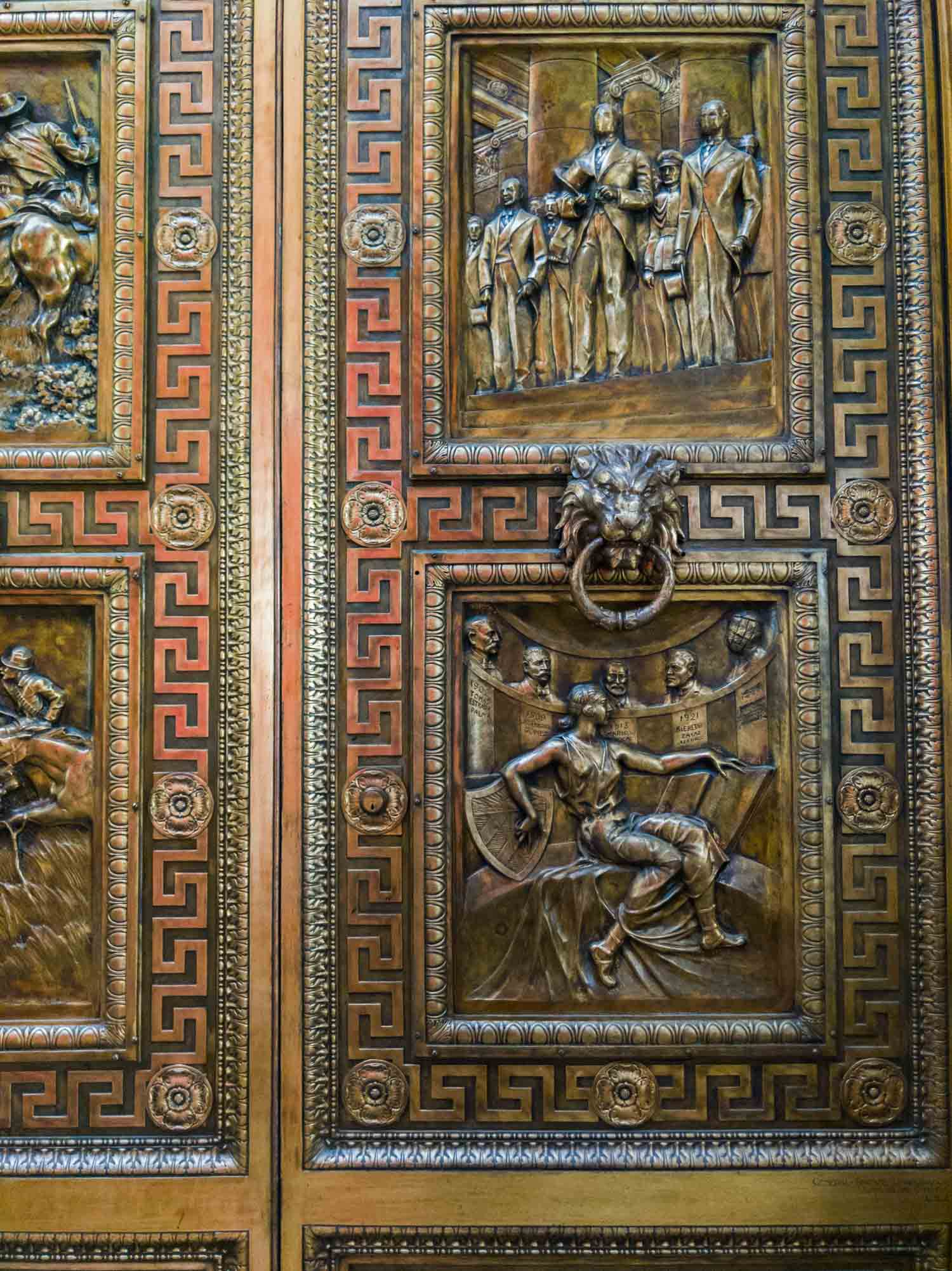 Bronze doors at El Capitolio, the capitol building in Havana Cuba