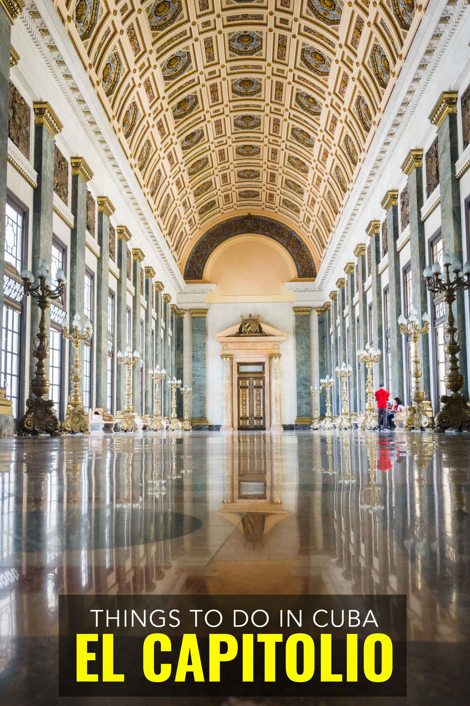 El Capitolio hallway, the capitol building in Havana Cuba has recently been restored.