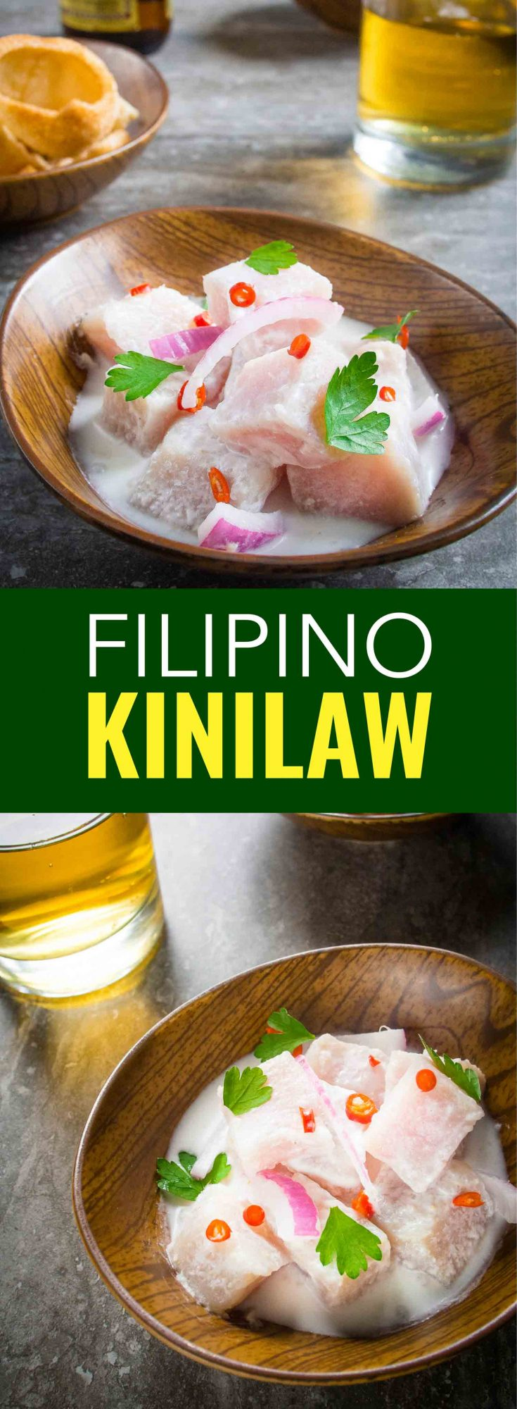 Forget poke and ceviche, kinilaw is the real deal. It is a Filipino appetizer marinated in coconut vinegar and citrus then spiced with bird's eye chili pepper, you won't believe how easy it is to make this Filipino kinilaw kilawin recipe.  #Filipino #Philippines #Asia #Recipe #Ceviche #poke #kinilaw #recipe #healthy #fish #easy