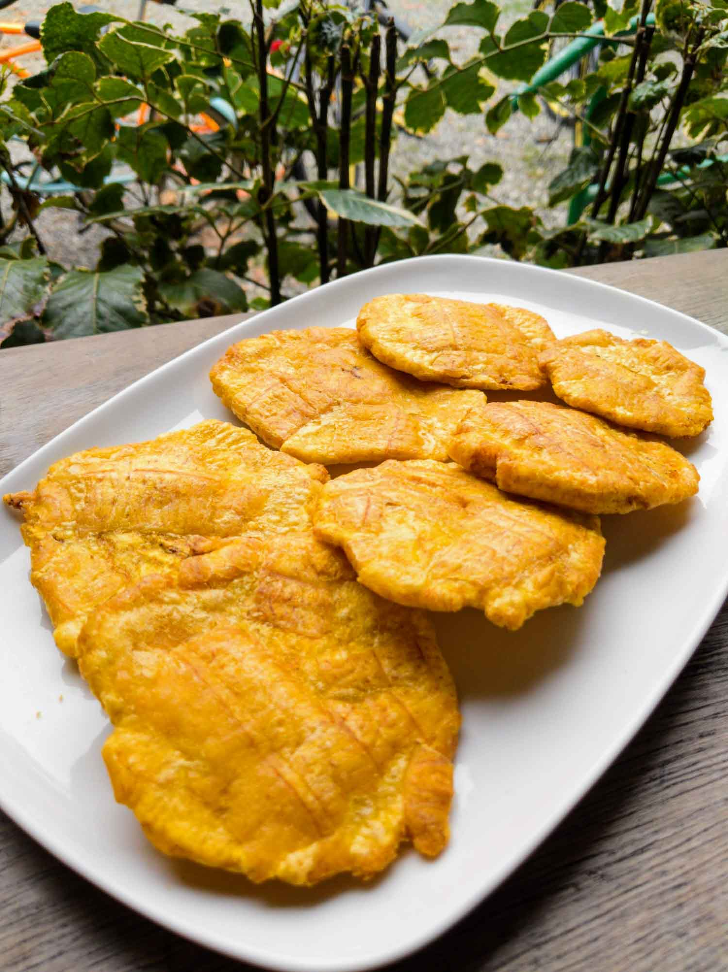 Patacones also known as tostones or fried green plantains in Costa Rica