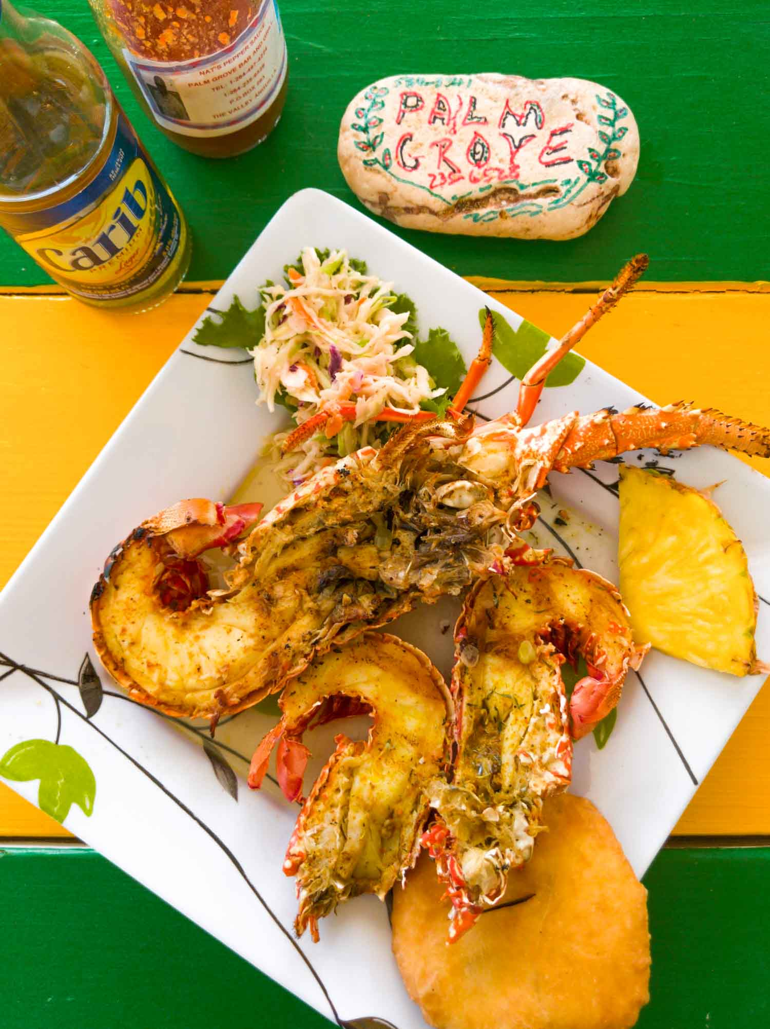 Crayfish and Caribbean lobster at Palm Grove in Anguilla, also known as Nat's Place.