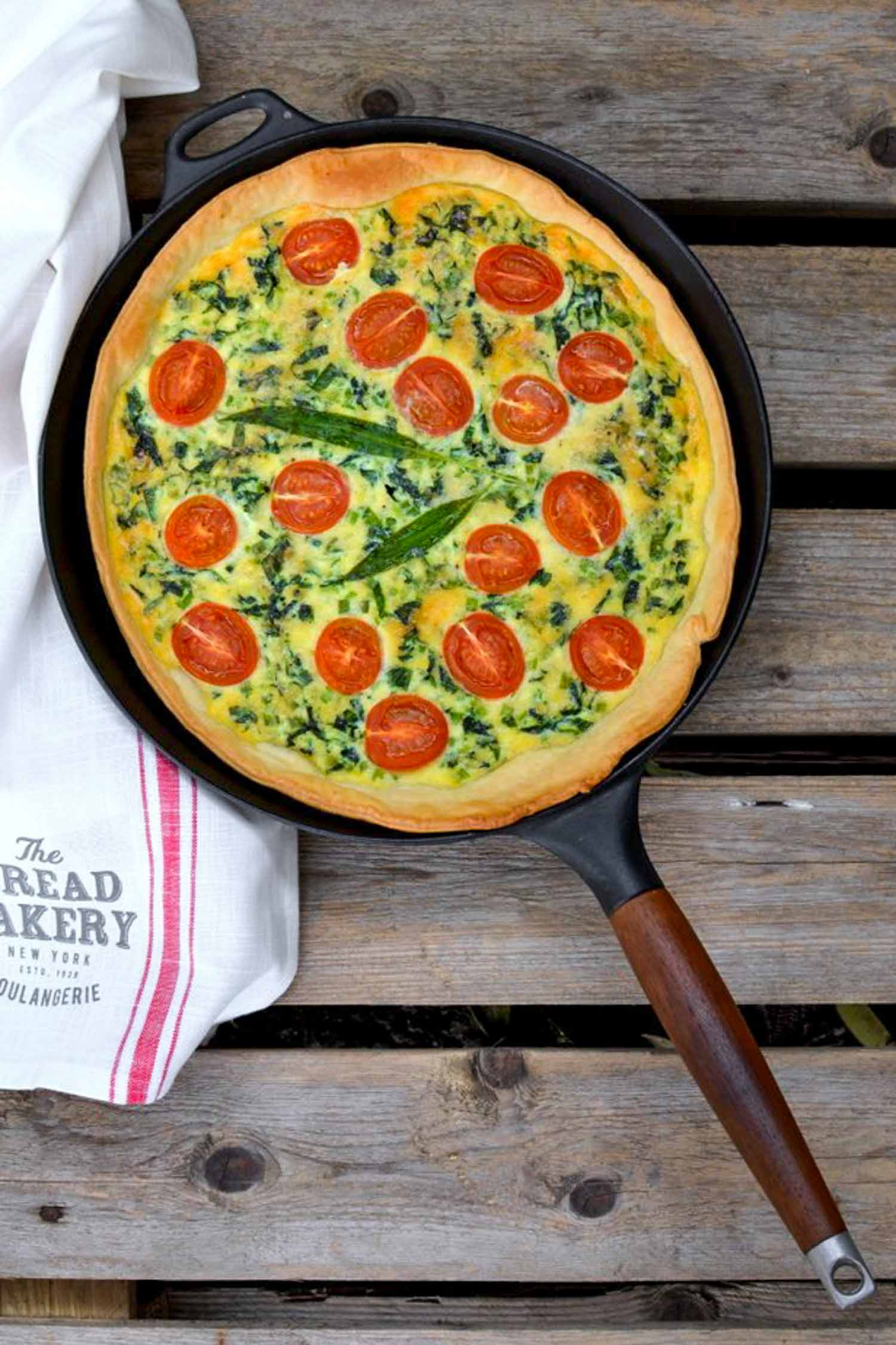 Popular ramps recipe of ramps and cherry tomato pie