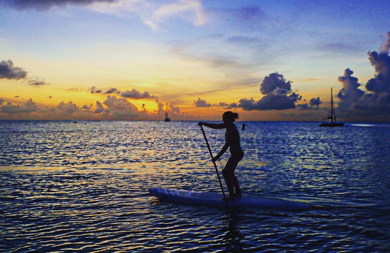 Stand up paddleboard in Carlisle Bay in Barbados