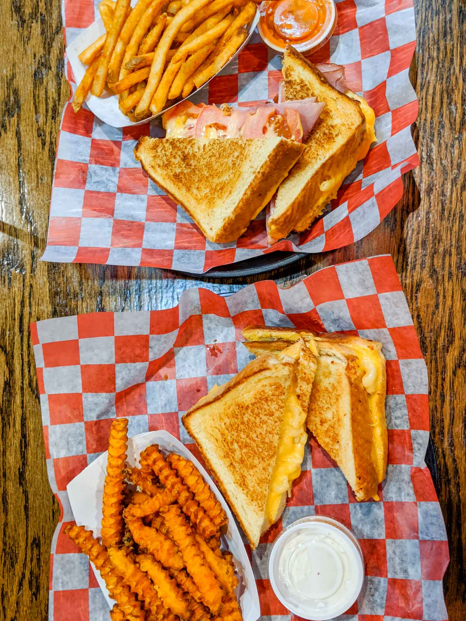 Cheesies restaurant in Chicago has grilled cheese sandwiches and fries.
